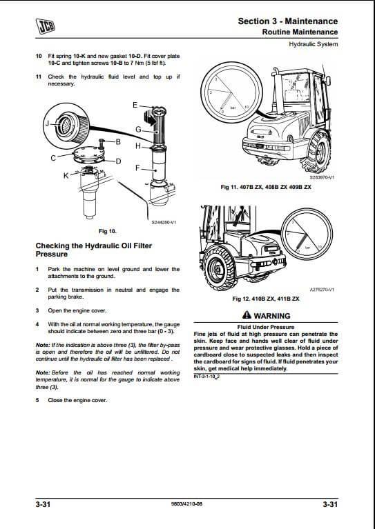 JCB 407B ZX,408B ZX,409B Z,410B ZX,411B ZX Wheel Loader