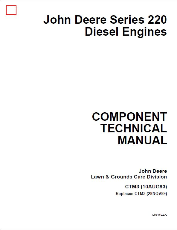 John Deere Series 220 Diesel Engines Service Repair
