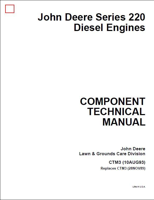 John Deere Series 220 Diesel Engines Service Repair