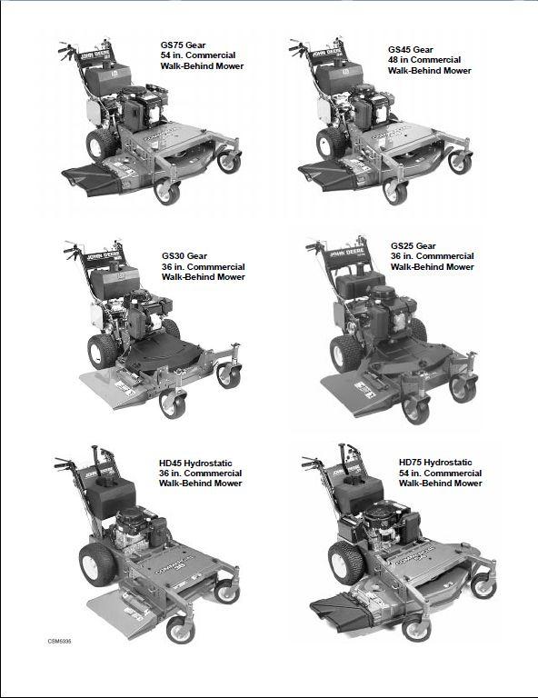 John Deere GS25, GS30, GS45, GS75,HD45, HD75 Commercial