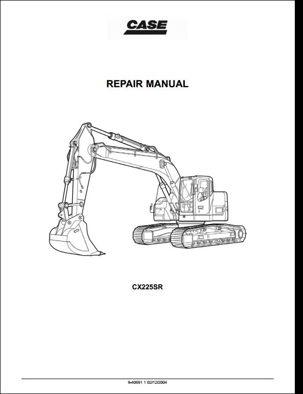 Case CX225SR Crawler Excavators Service Repair Workshop