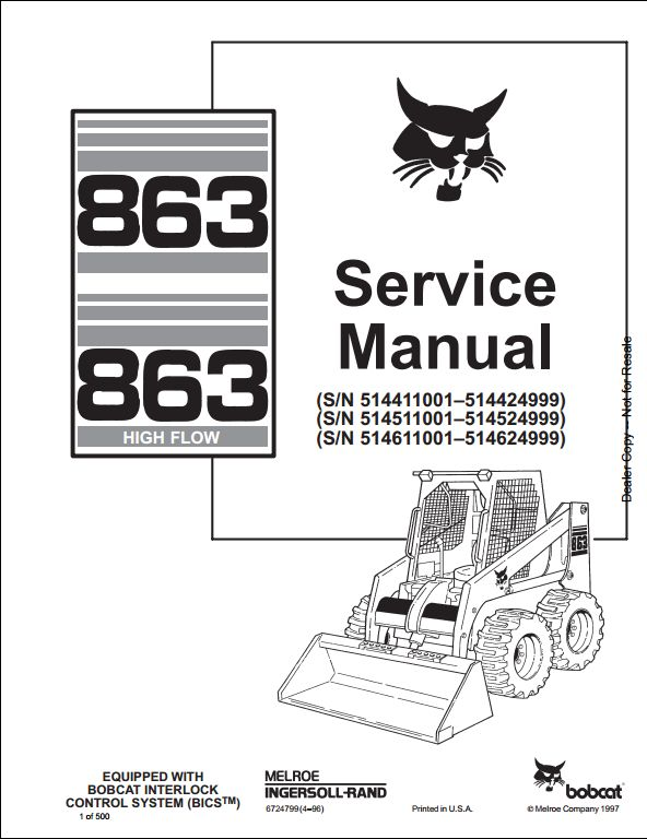 Bobcat 863,863 High Flow Skid Steer Loader Service Repair