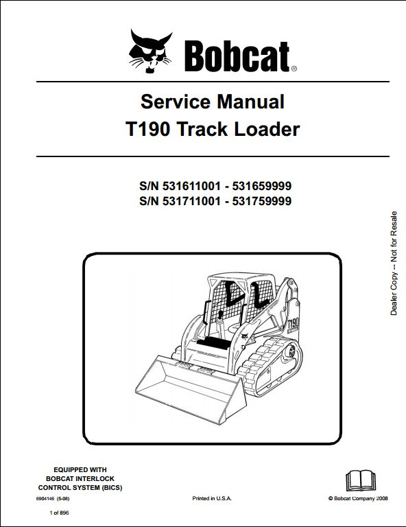 bobcat t190 wiring diagram direct tv genie track loader service repair workshop manual 531611001-531711001 | a store