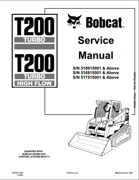 Bobcat T220 Turbo High Flow Track Loader Service Repair