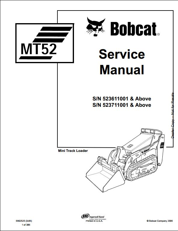 Bobcat MT52 Mini Track Loader Service Repair Workshop