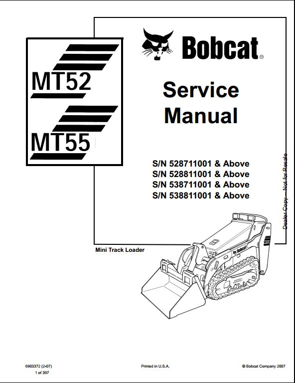 Bobcat MT52,MT55 Mini Track Loader Service Repair Workshop