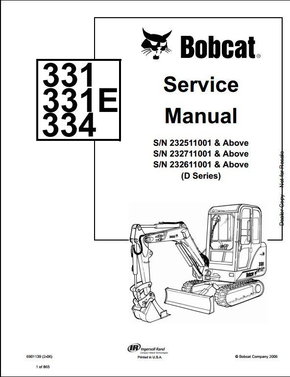 Bobcat 331 331E 334 Mini Excavator Service Repair Workshop