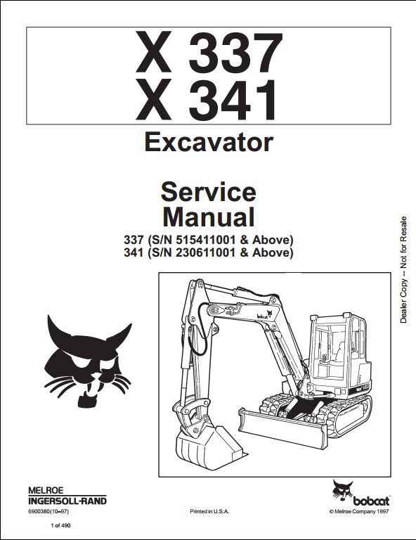 1997 Bobcat X337 X341 Mini Excavator Service Repair