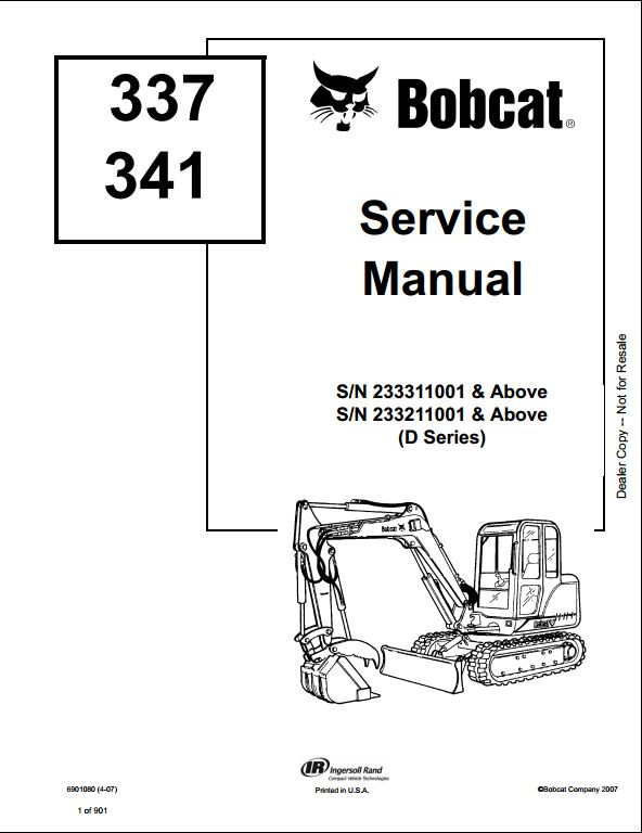 Bobcat 337 341 Mini Excavator Service Repair Workshop