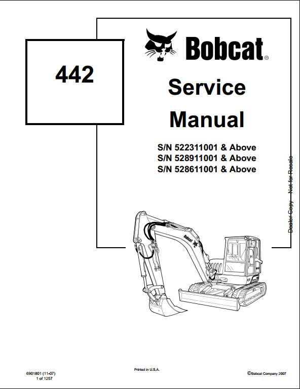 Bobcat 442 Mini Excavator Service Repair Workshop Manual