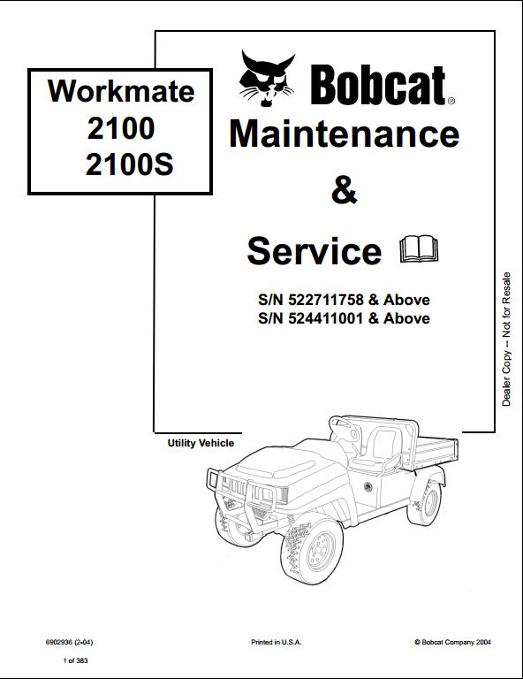 Bobcat Workmate 2100 2100S Utility Vehicle Service Repair