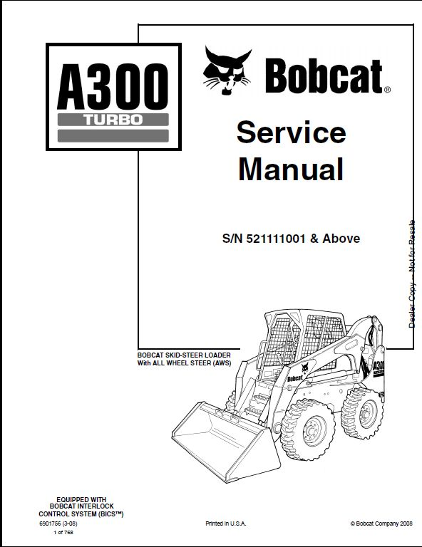Bobcat A300 Turbo Skid Steer Loader Service Repair