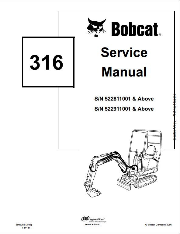 Bobcat 316 Mini Excavator Service Repair Workshop Manual