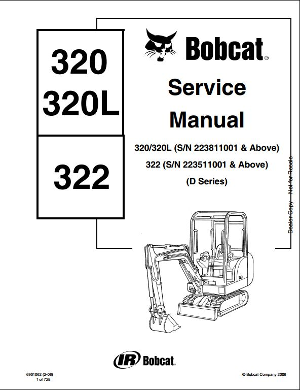 Bobcat 320/320L,322 Mini Excavator Service Repair Workshop