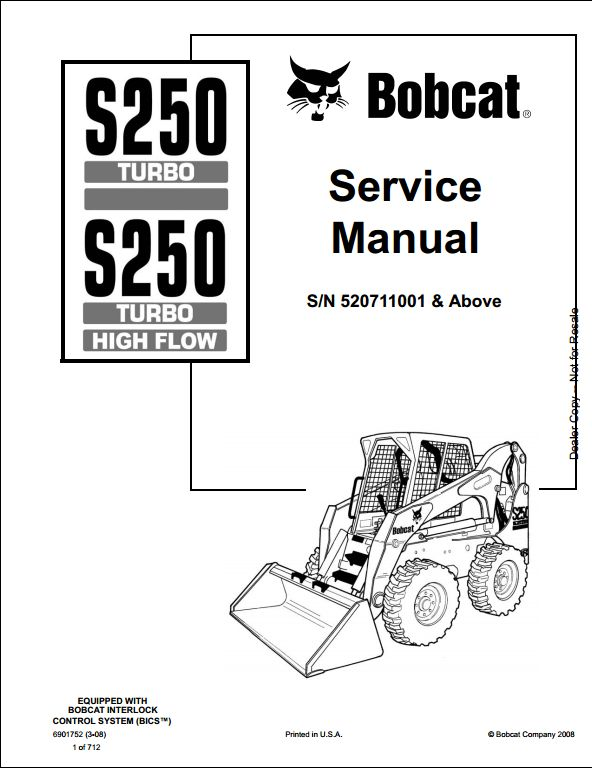 Bobcat S250 Turbo High Flow Skid Steer Loader Service