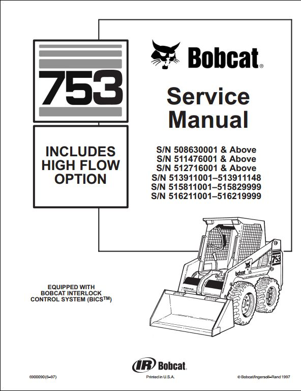 john deere skid steer wiring diagrams 7 wire trailer diagram bobcat 753 loader service repair workshop manual 515830001-516211001 | a ...