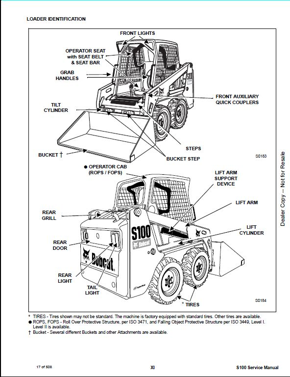 Bobcat S100 Skid Steer Loader Service Repair Workshop