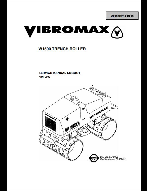 Vibromax W1500 Trench Roller Service Repair Workshop