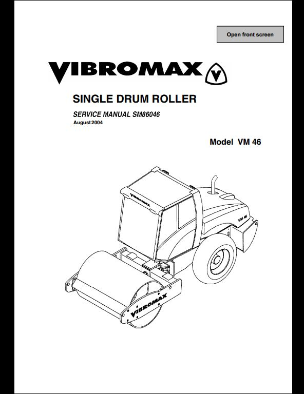 Vibromax VM 46 Sigle Drum Roller Service Repair Workshop