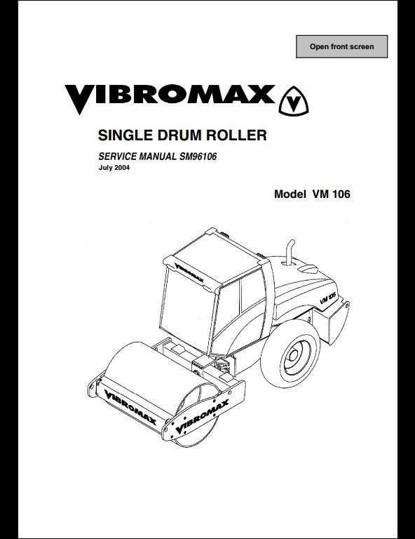 Vibromax VM 106 Sigle Drum Roller Service Repair Workshop