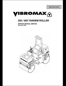 Vibromax 255/265 Tandem Roller Service Repair Workshop