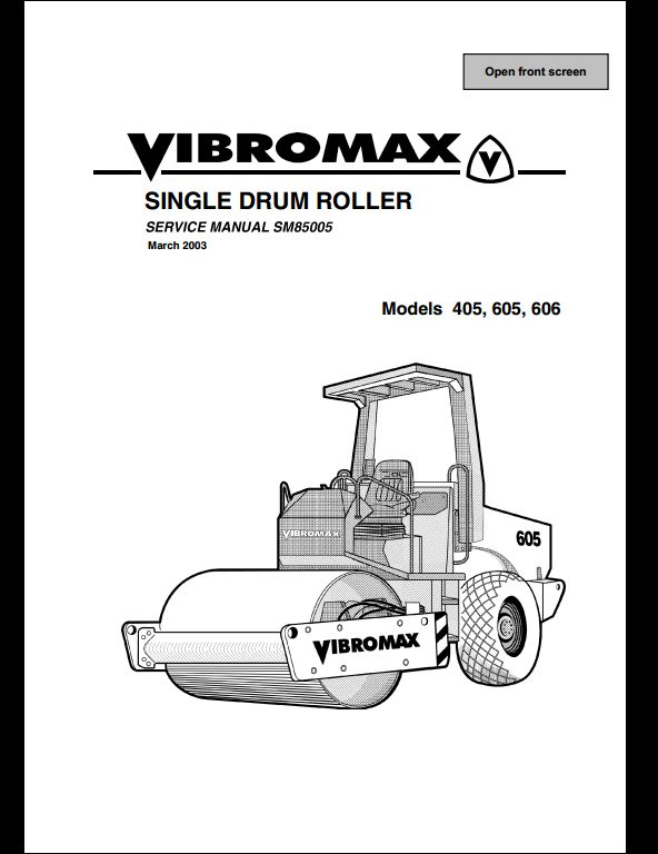 Vibromax 406,605,606 Sigle Drum Roller Service Repair