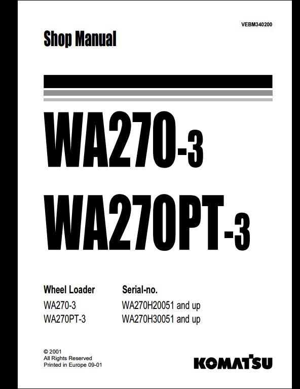 Komatsu Wheel Loaders WA270-3,WA270PT-3 Service Repair