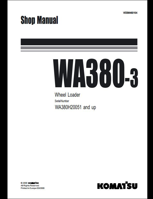 Komatsu Wheel Loaders WA380-3 Service Repair Workshop