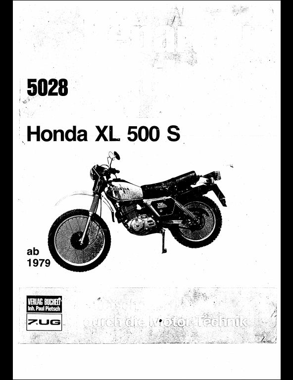 1979 Honda XL 500 S Motorcycle Service Repair Workshop