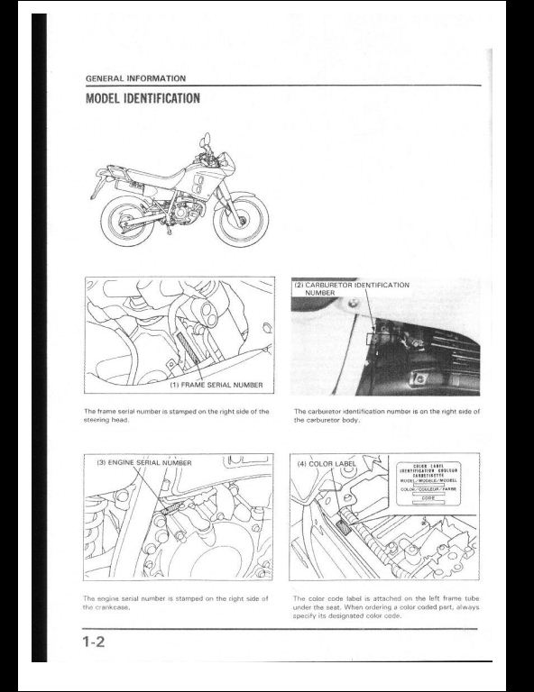 1988 Honda NX250 Motocycle Service Repair Workshop Manual