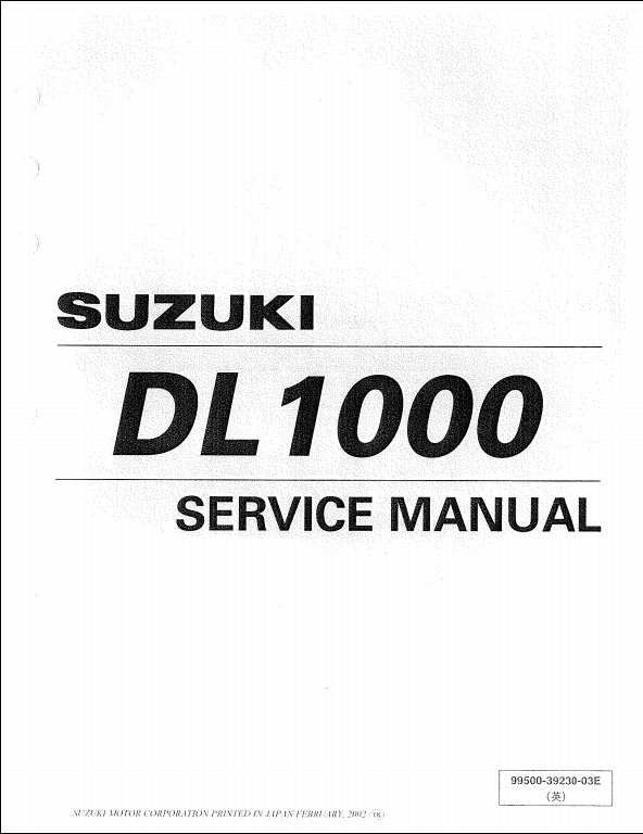2002 Suzuki DL1000 Motocycle Service Repair Workshop