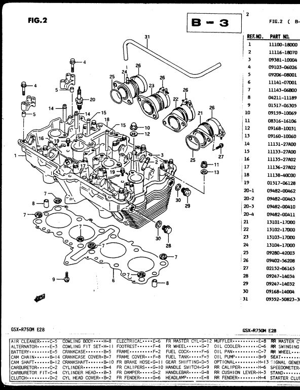1991 Suzuki GSX-R750M Motocycle Service Repair Parts