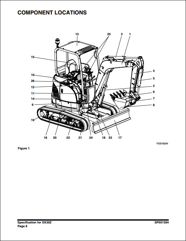 2007 Doosan DX30Z Crawled Excavator Service Repair