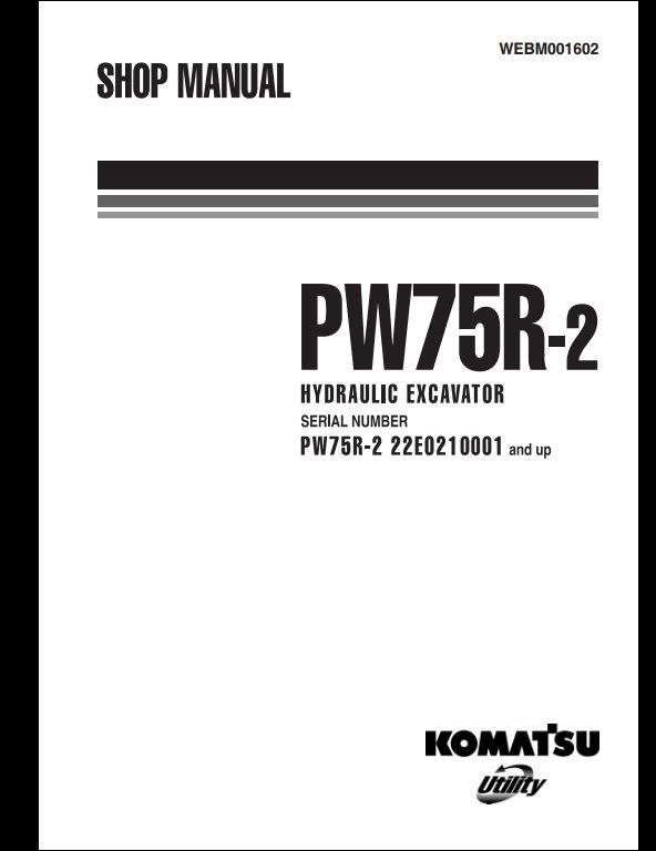 KOMATSU PW75R-2 Hydraulic Excavator Service Repair