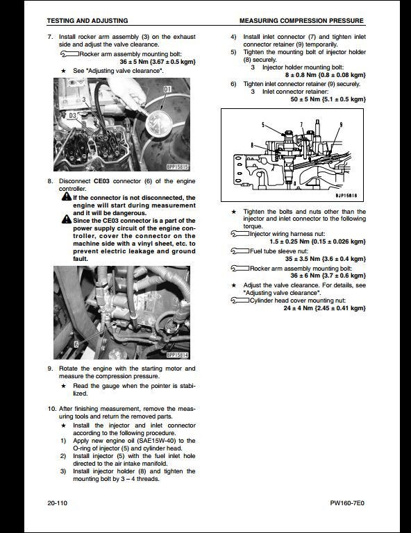 KOMATSU PW160-7E0 Wheeled Excavators Service Repair