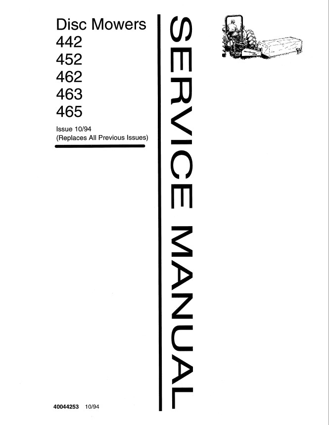 New Holland 442/452/462/463/465 Disc Mower Service Repair