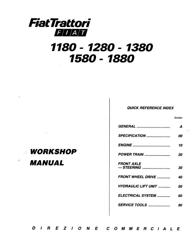 New Holland Fiat 1180,1280,1380,1580,1880 Tractors Service