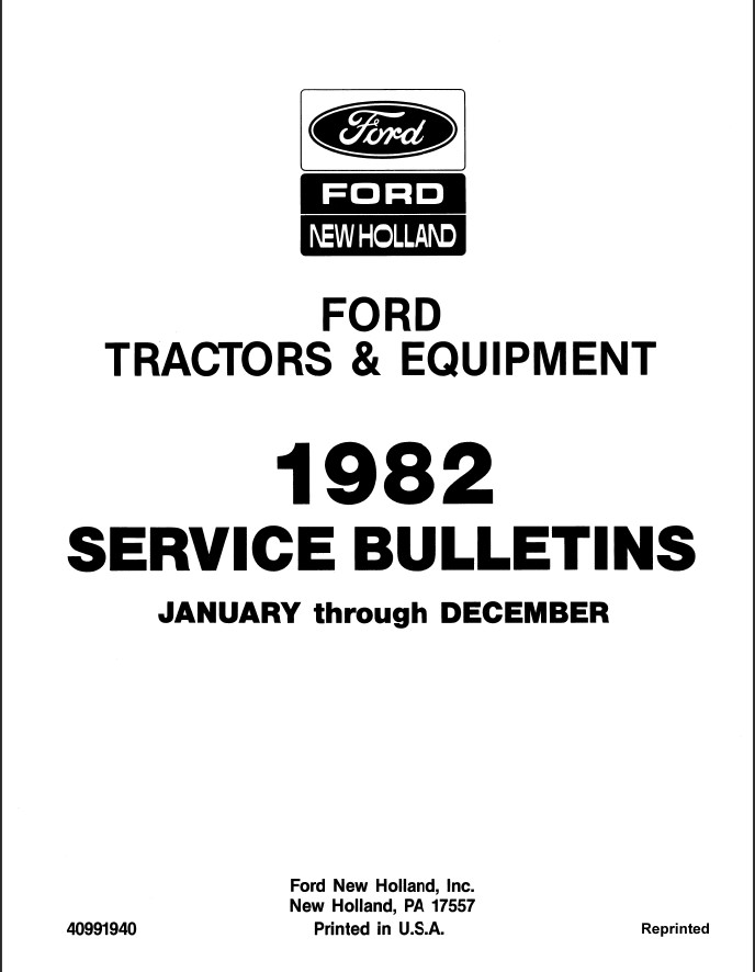 1982 New Holland Ford Tractors & Equipment Service