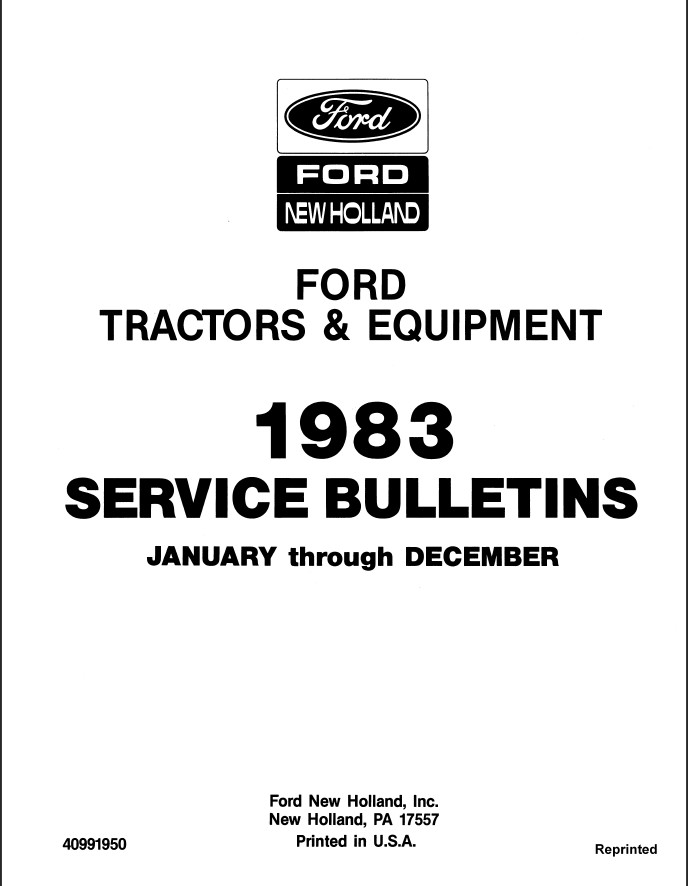 1983 New Holland Ford Tractors & Equipment Service