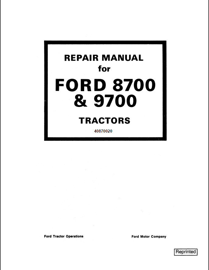 New Holland Ford 8700 & 9700 Tractor Service Repair Manual