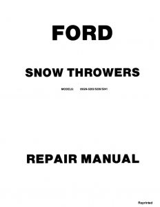 New Holland Ford Snow Throwers ST320/ST524/ST826 Service