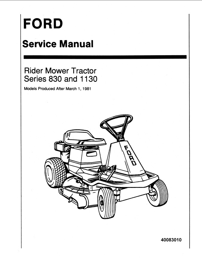 New Holland Ford Series 830 and 1130 Rider Mower Tractor