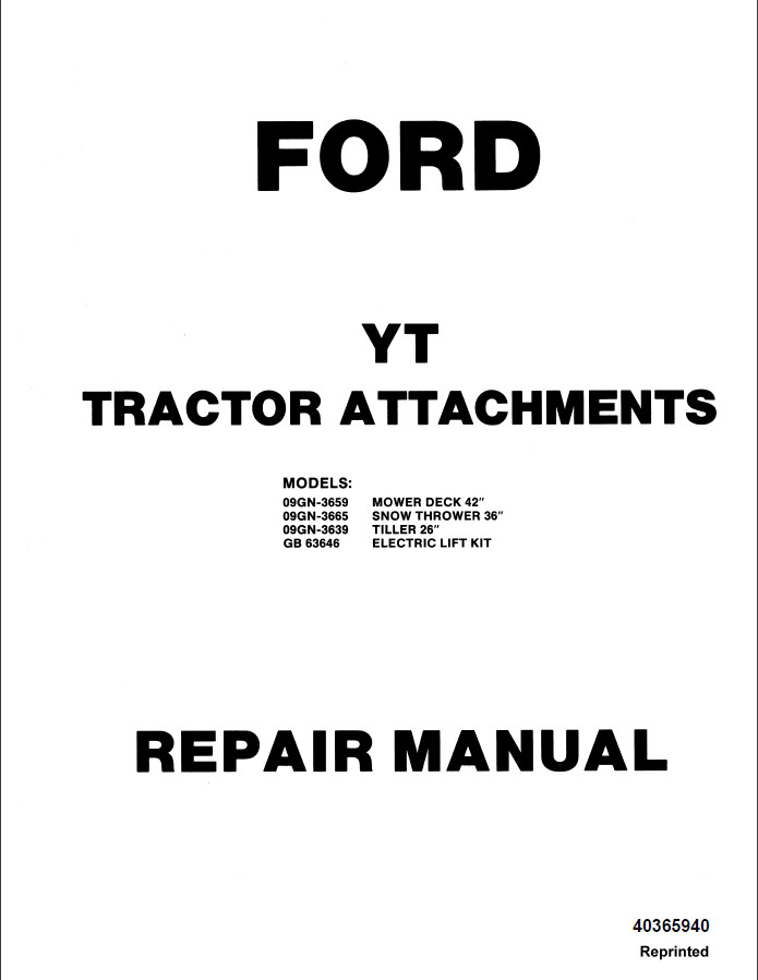 New Holland Ford YT Tractor Attachments Service Repair
