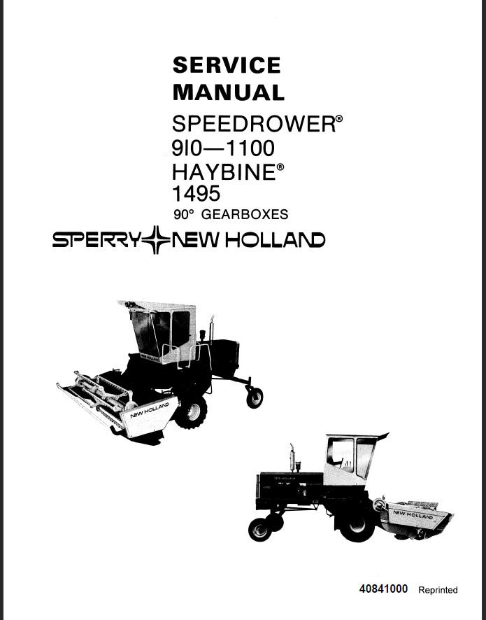 New Holland SpeedRower 9101-1100 HayBine 1495 Service