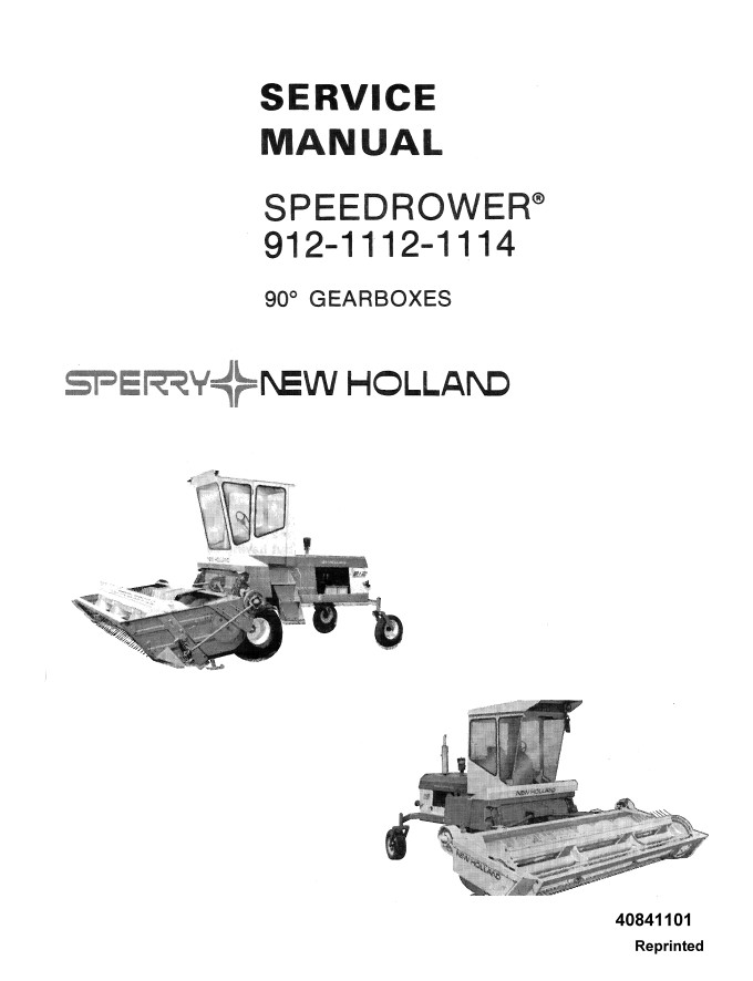 New Holland SpeedRower 912-1112-1114 Service Repair Manual
