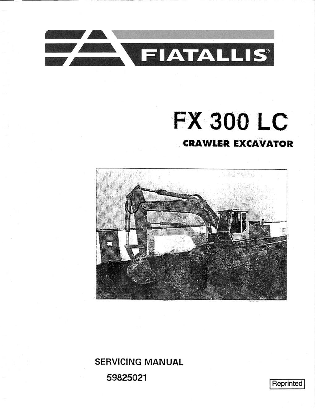Fiatallis FX300LC Crawler Excavator Service Repair Manual