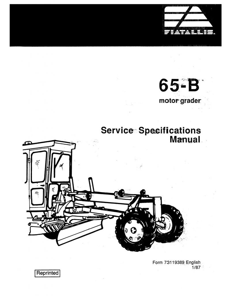 Fiatallis 65-B Motor Grader Service Specification Manual