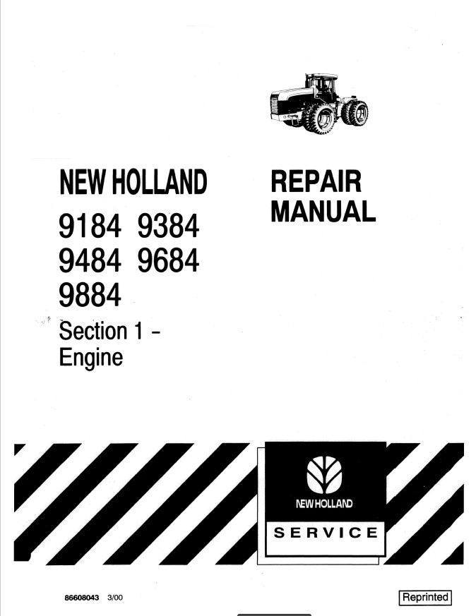 New Holland 9184/9384/9484/9684/9884 Tractor Service