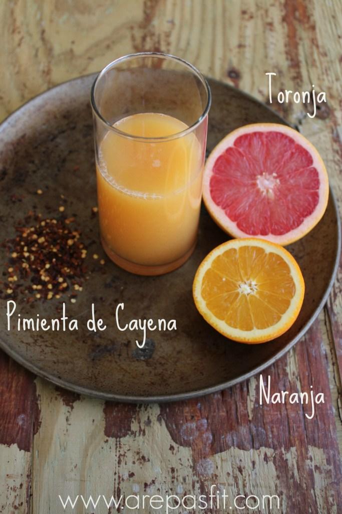Jugo de Toronja, Naranja y Pimienta de Cayena