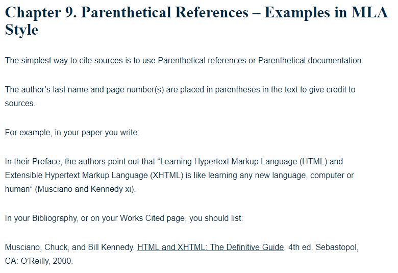 mla report examples